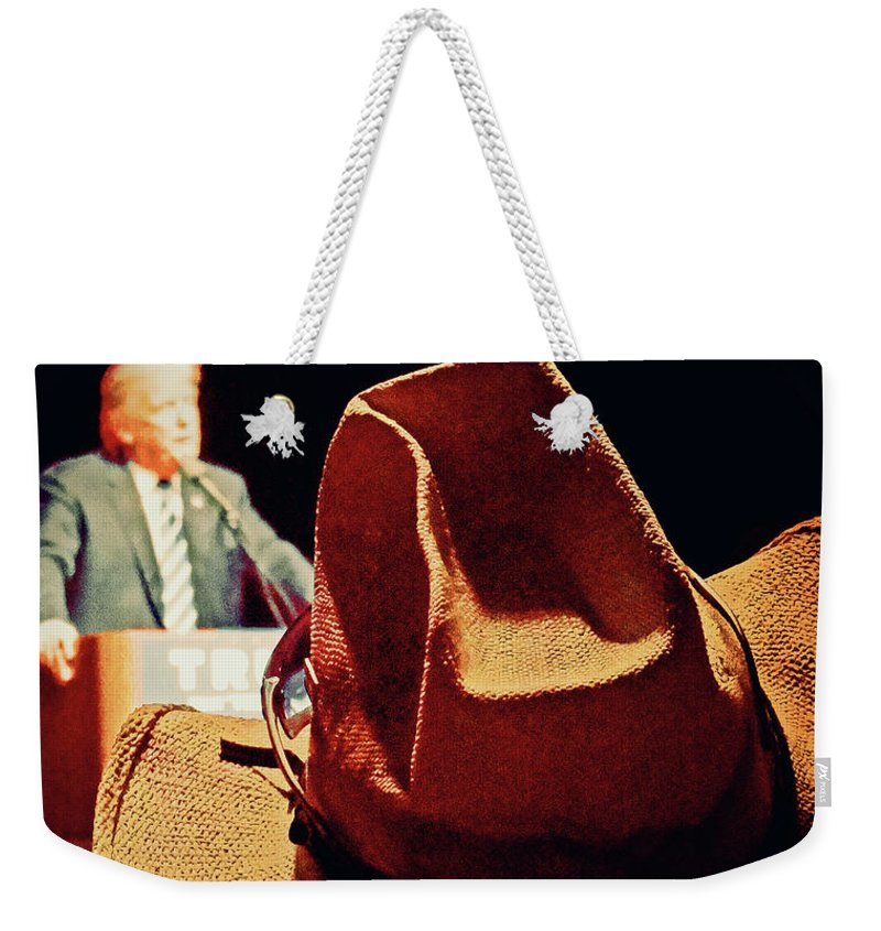 Donald Trump Weekender Tote Bag featuring the photograph Trump This Hat by Tania Vojvodic
