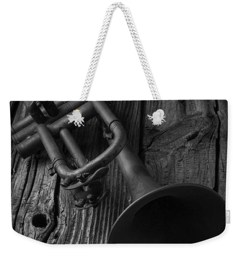 Trumpet Weekender Tote Bag featuring the photograph Trumpet In Black And White by Garry Gay