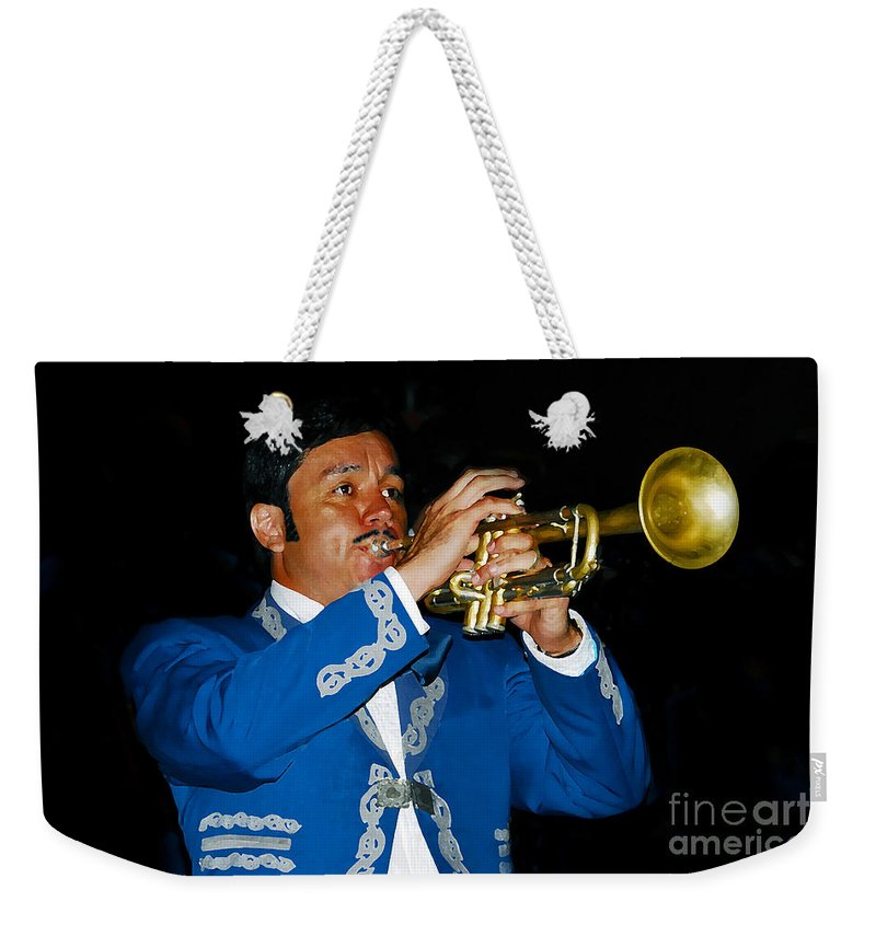 Trumpet5 Weekender Tote Bag featuring the photograph Trumpet Player by David Lee Thompson