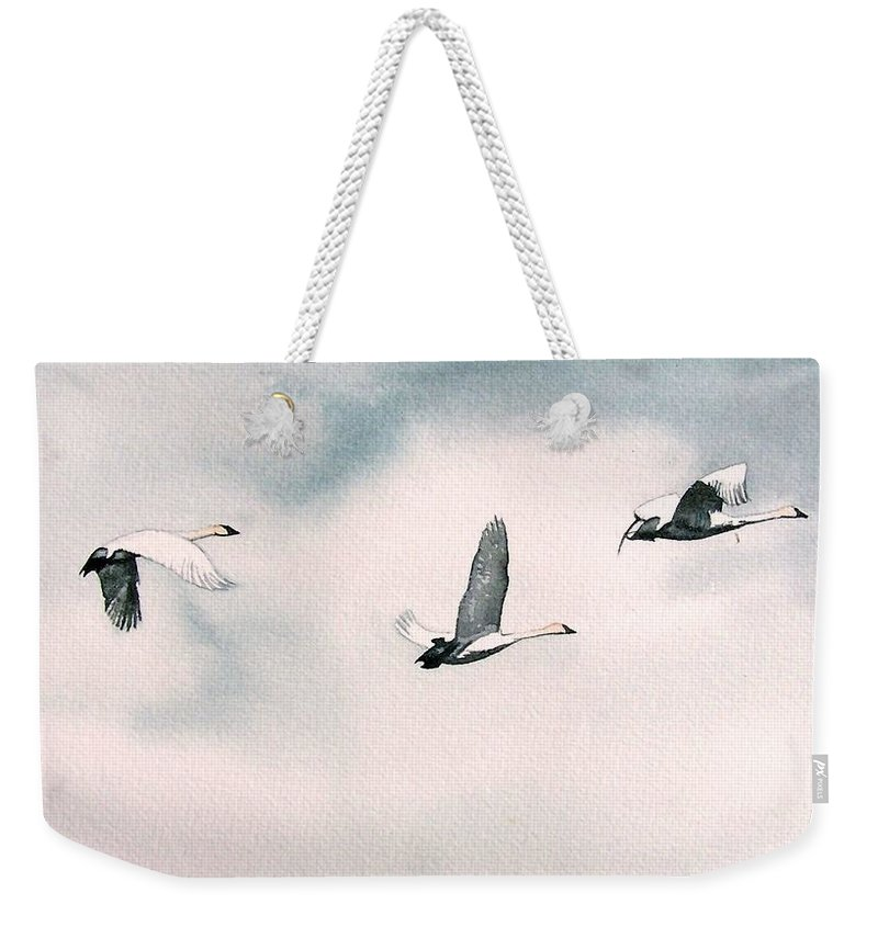 Swans Weekender Tote Bag featuring the painting Trumpeters by Gale Cochran-Smith