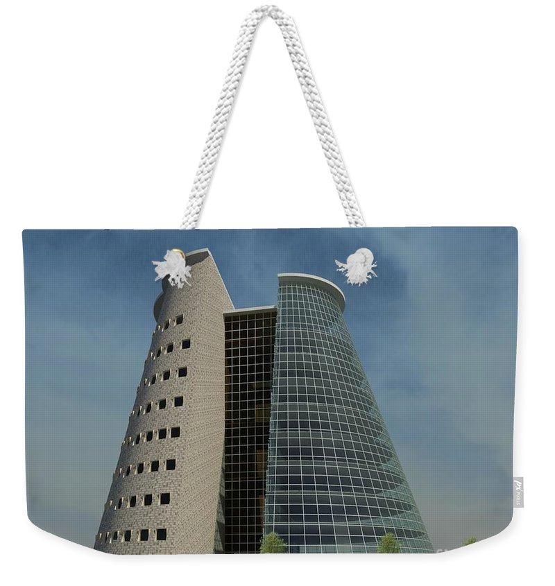 Building Rendering Weekender Tote Bag featuring the digital art Truncated Building by Ron Bissett