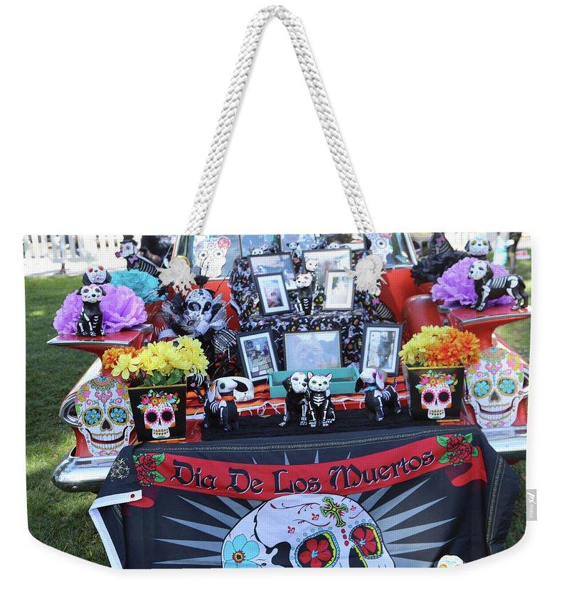Dia De Los Muertos Weekender Tote Bag featuring the photograph Trunk El Camino Day Dead by Chuck Kuhn