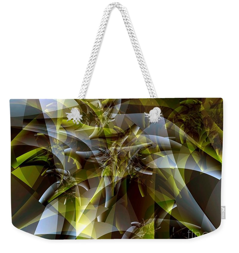 Fractal Art Weekender Tote Bag featuring the digital art Trunks In Green And Gray by Ron Bissett