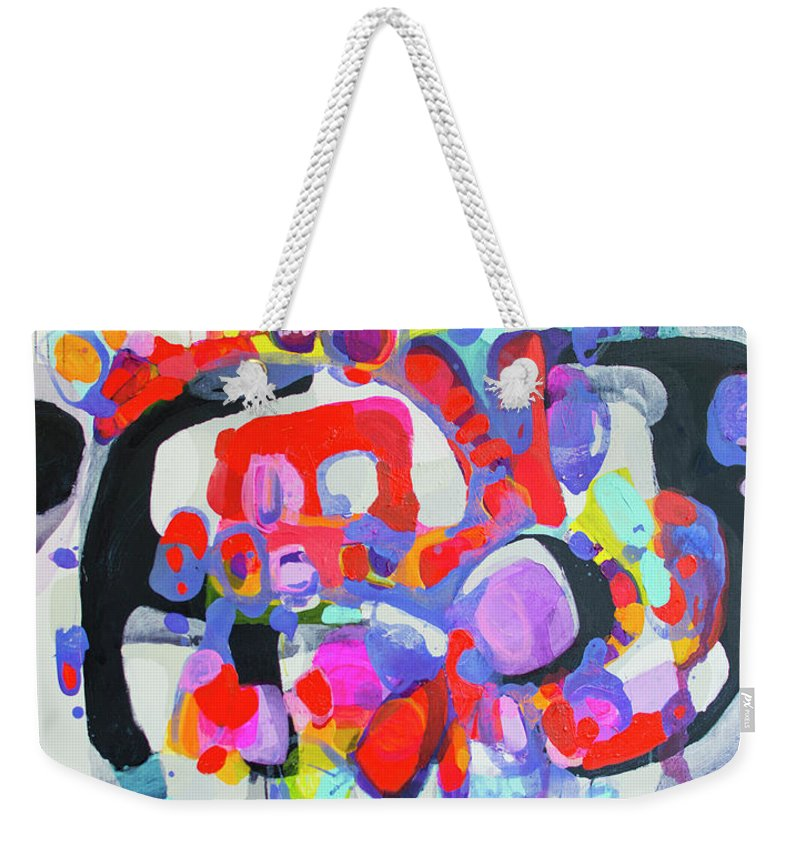 Abstract Weekender Tote Bag featuring the painting Try Me by Claire Desjardins