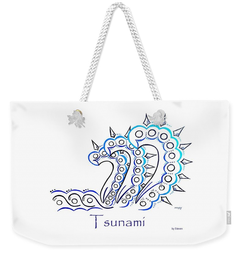Sunami Weekender Tote Bag featuring the painting Tsunami by Steven Ross
