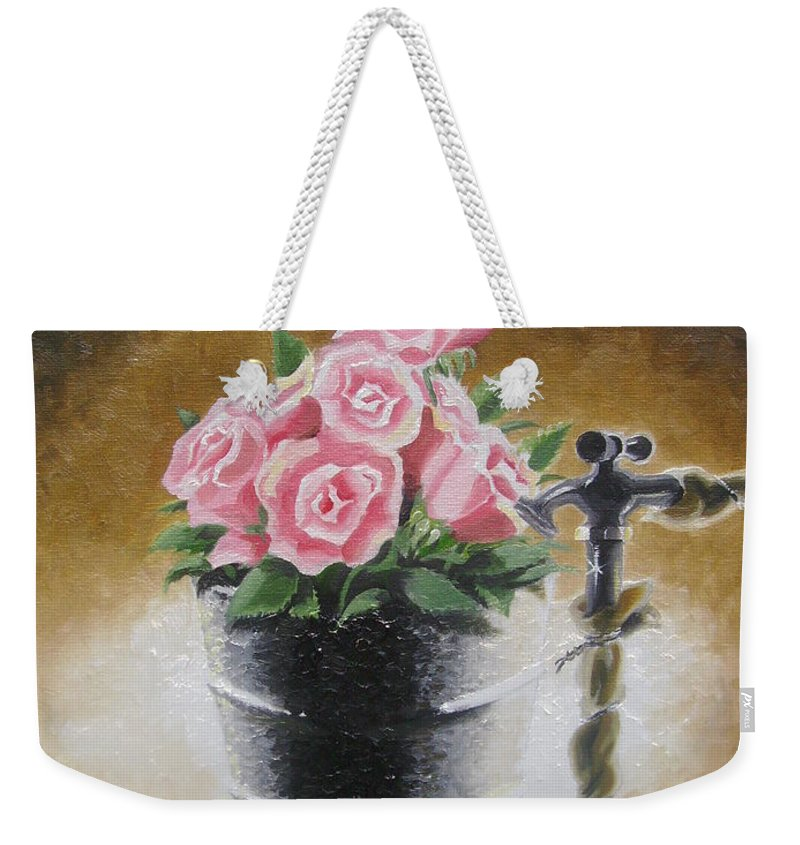 Flowers Weekender Tote Bag featuring the painting Tub Of Roses by Chuck Collins
