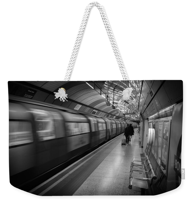 London Weekender Tote Bag featuring the photograph Tube by Chris Smith