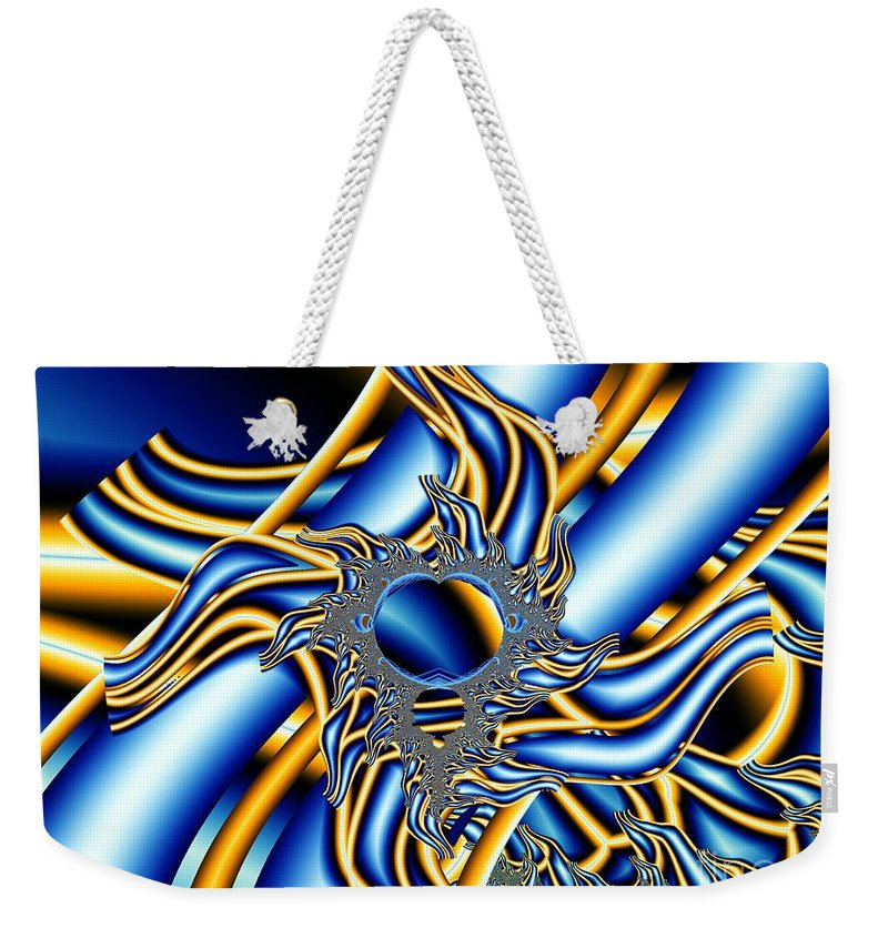 Fractal Image Weekender Tote Bag featuring the digital art Tubes Of Blue And Gold by Ron Bissett