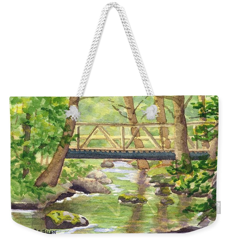 Stream Weekender Tote Bag featuring the painting Tuckers Brook by Sharon E Allen