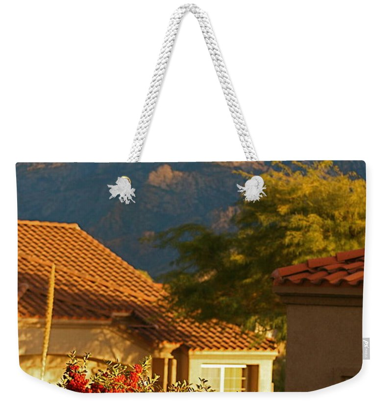 Mountains Weekender Tote Bag featuring the photograph Tucson Beauty by Nadine Rippelmeyer