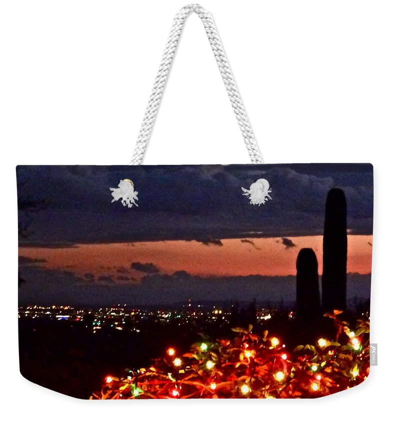 Christmas Card Weekender Tote Bag featuring the photograph Tucson City Lights by Bonnie See