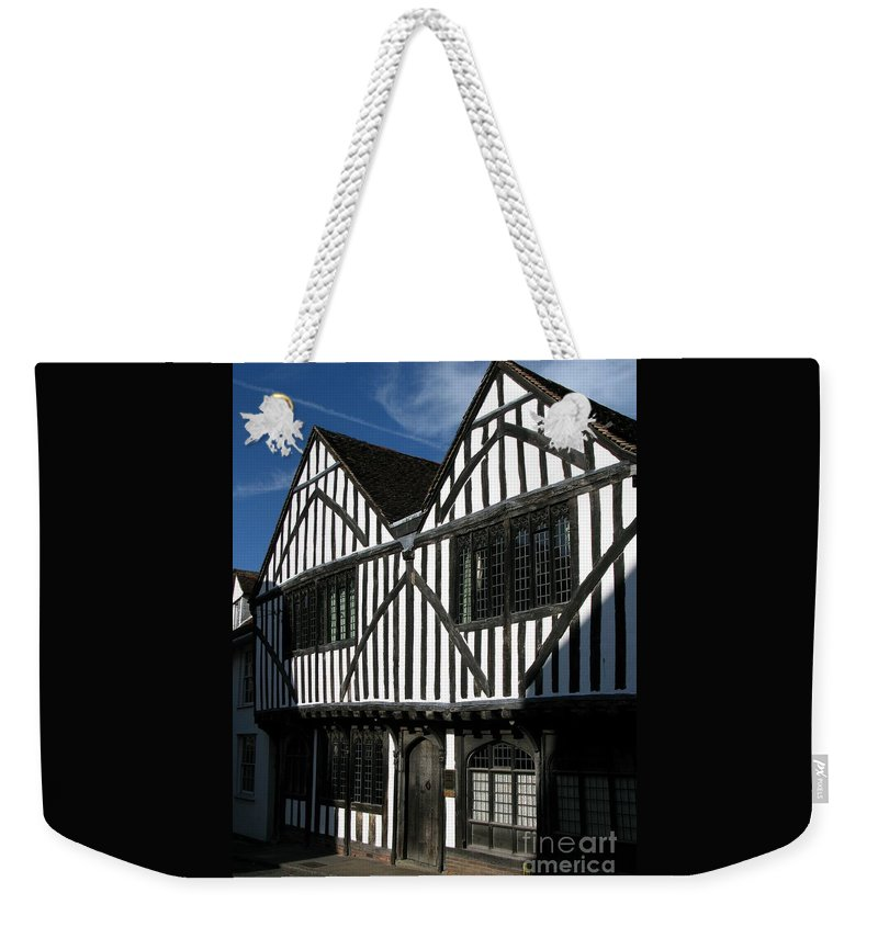 Tudor Weekender Tote Bag featuring the photograph Tudor Timber by Ann Horn