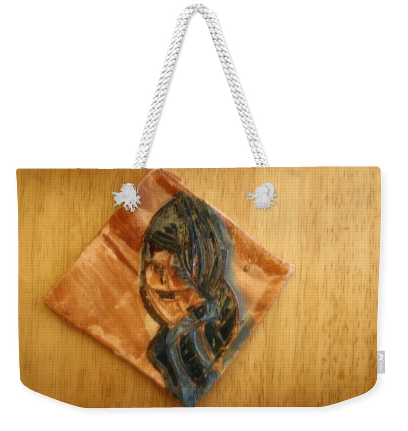 Jesus Weekender Tote Bag featuring the ceramic art Tuesday - Tile by Gloria Ssali