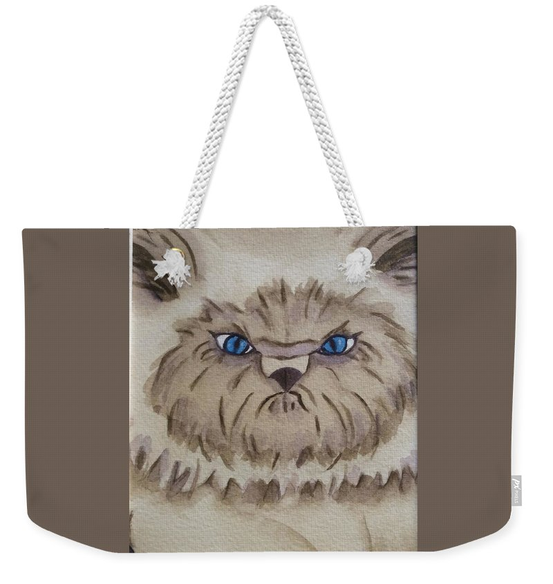 Cat Weekender Tote Bag featuring the painting Tuffy by Colleen Giorgi