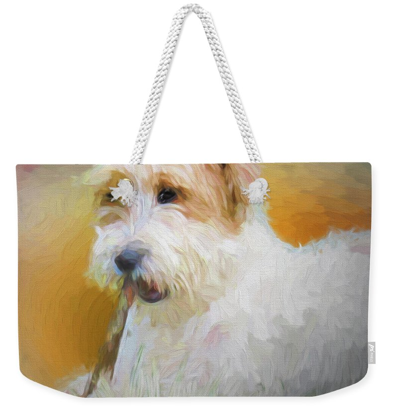 Australia Weekender Tote Bag featuring the digital art Tuffy The Russell Terrier by Rusty R Smith