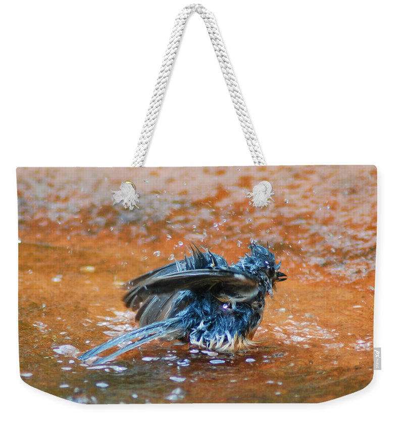 Bird Weekender Tote Bag featuring the photograph Tufted Titmouse Bath by Dirk Fecho