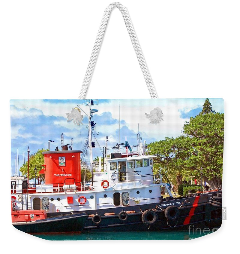 Boat Weekender Tote Bag featuring the photograph Tug On It by Debbi Granruth