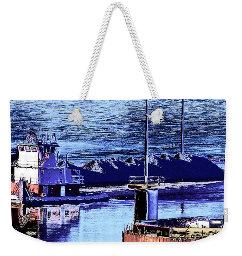Abstract Weekender Tote Bag featuring the photograph Tug Reflections by Rachel Christine Nowicki