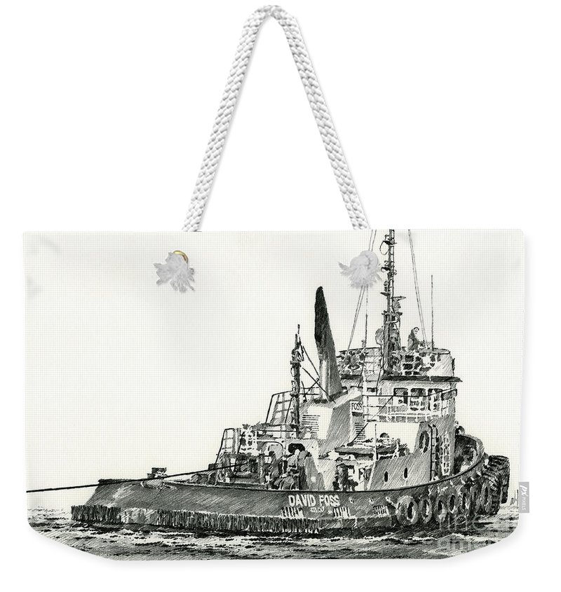 Tug Weekender Tote Bag featuring the drawing Tugboat David Foss by James Williamson