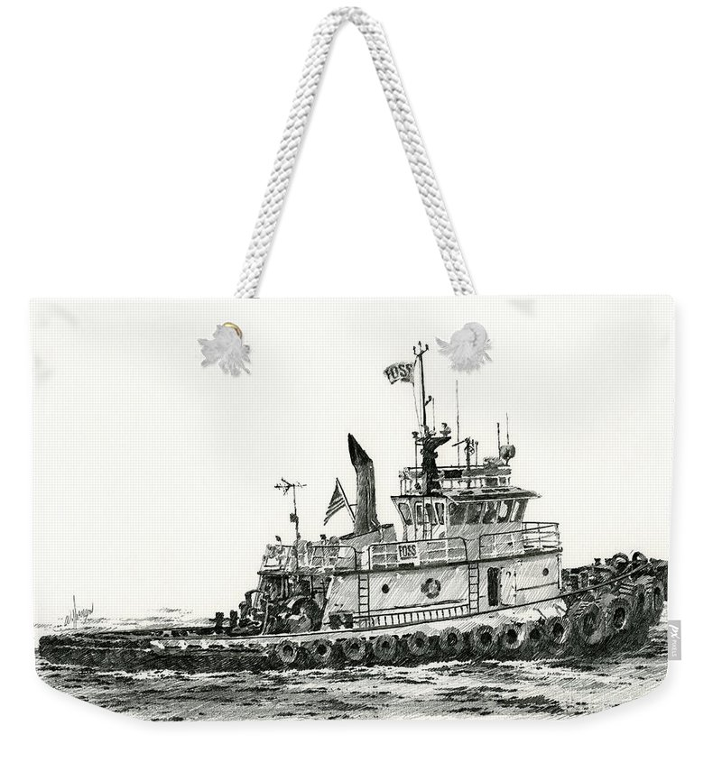 Tug Weekender Tote Bag featuring the drawing Tugboat Shelley Foss by James Williamson