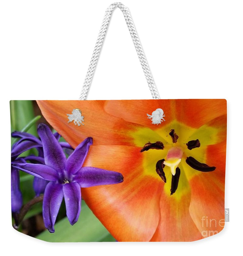Tulip Weekender Tote Bag featuring the photograph Tulip And Company by Allen Meyer