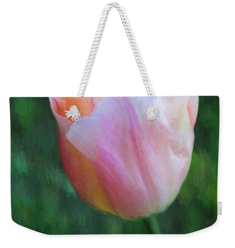 Tulip Weekender Tote Bag featuring the digital art Tulip Apricot Beauty by Liz Leyden
