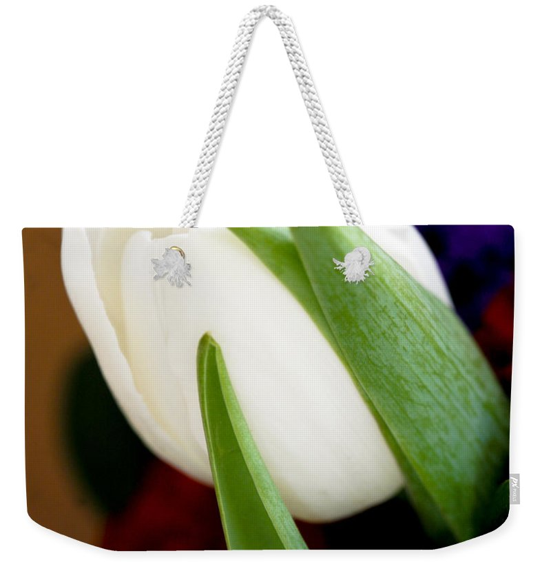 Floral Weekender Tote Bag featuring the photograph Tulip Arrangement 4 by Marilyn Hunt