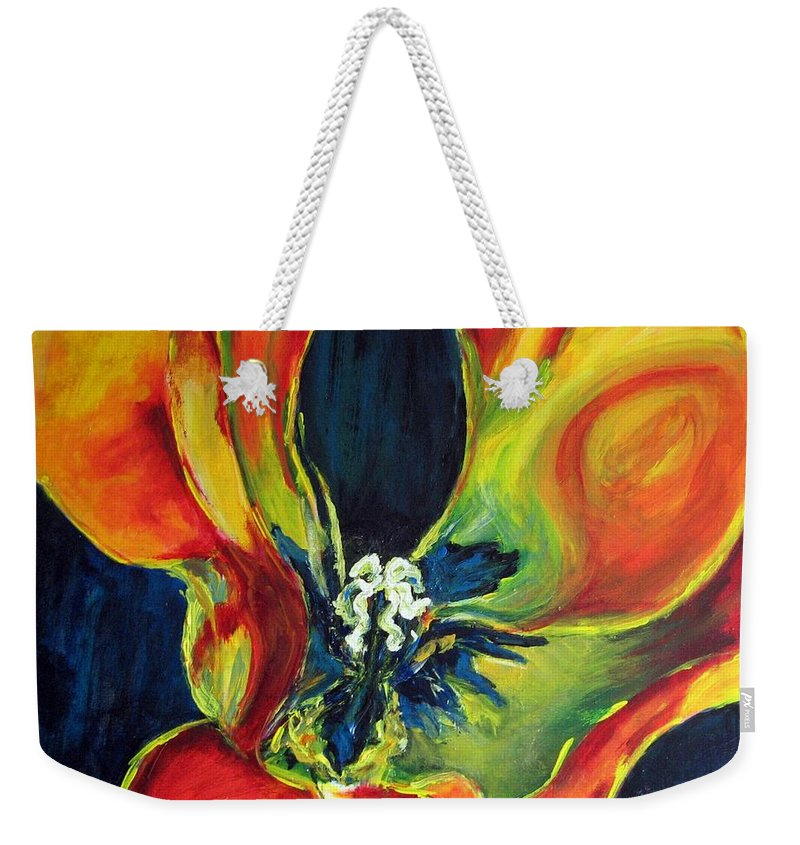 Tulip Weekender Tote Bag featuring the painting Tulip by Dragica Micki Fortuna