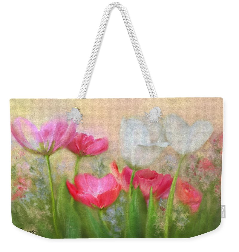 Tulips Weekender Tote Bag featuring the painting Tulip Garden by Bonnie Willis