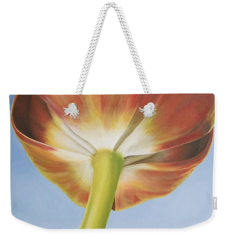 Flower Weekender Tote Bag featuring the painting Tulip by Rob De Vries
