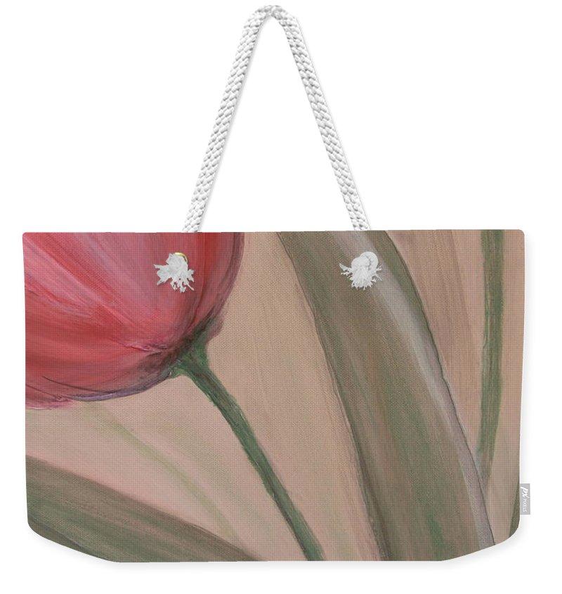 Tulips Weekender Tote Bag featuring the painting Tulip Series 2 by Anita Burgermeister