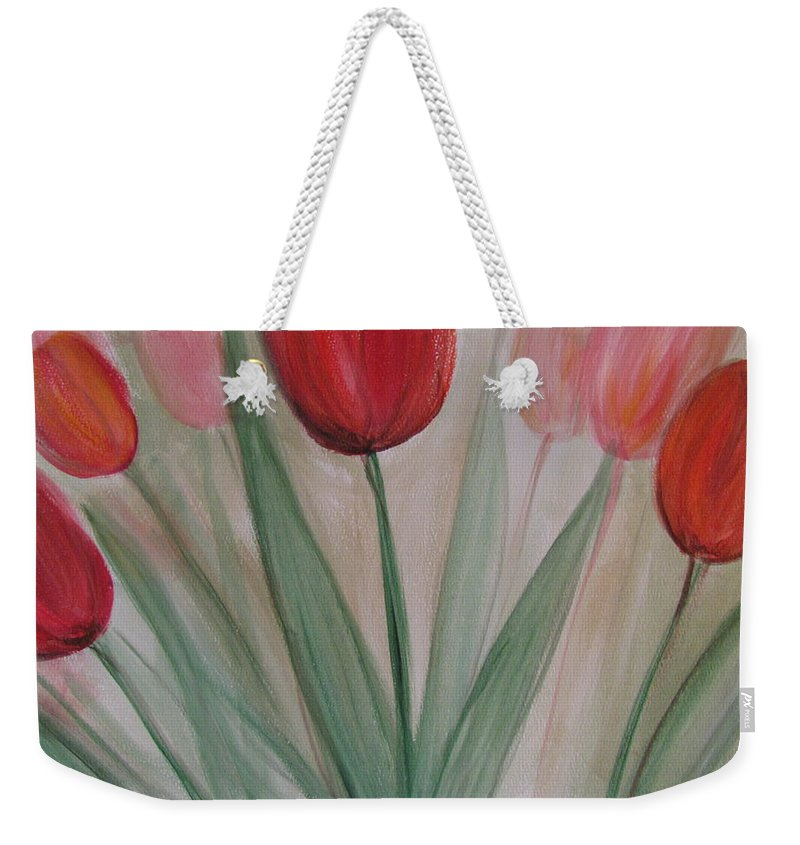 Tulips Weekender Tote Bag featuring the painting Tulip Series 4 by Anita Burgermeister