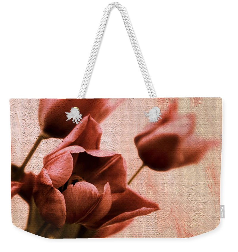 Tulips Weekender Tote Bag featuring the photograph Tulip Whimsy by Jessica Jenney