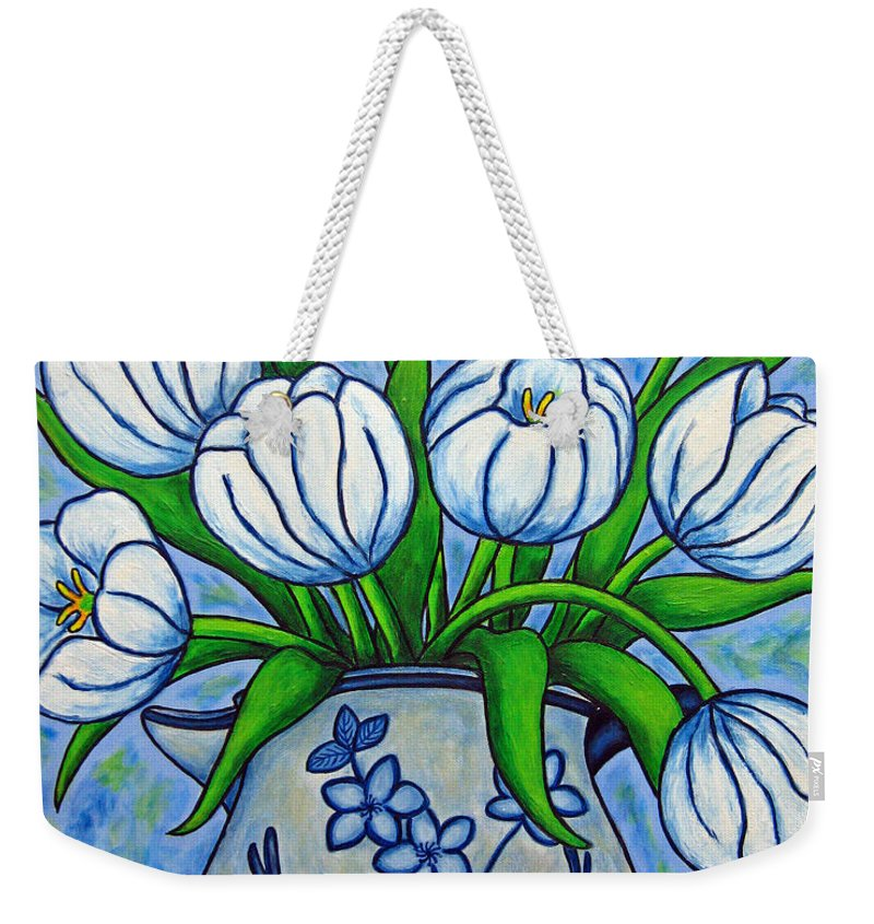 Flower Weekender Tote Bag featuring the painting Tulip Tranquility by Lisa Lorenz