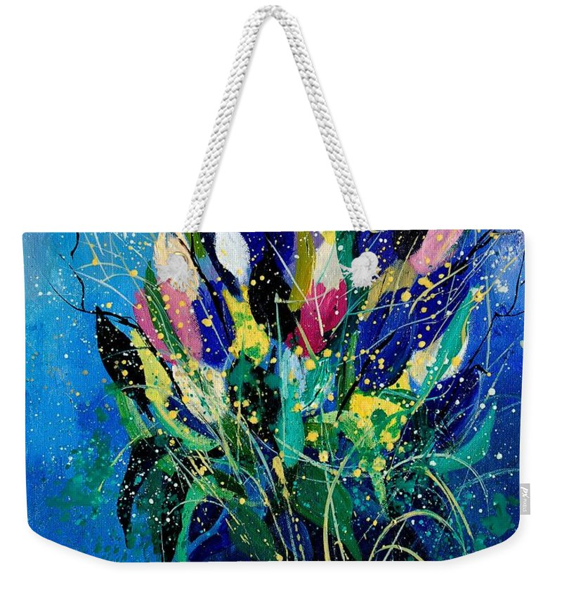 Flowers Weekender Tote Bag featuring the painting Tulips 45 by Pol Ledent