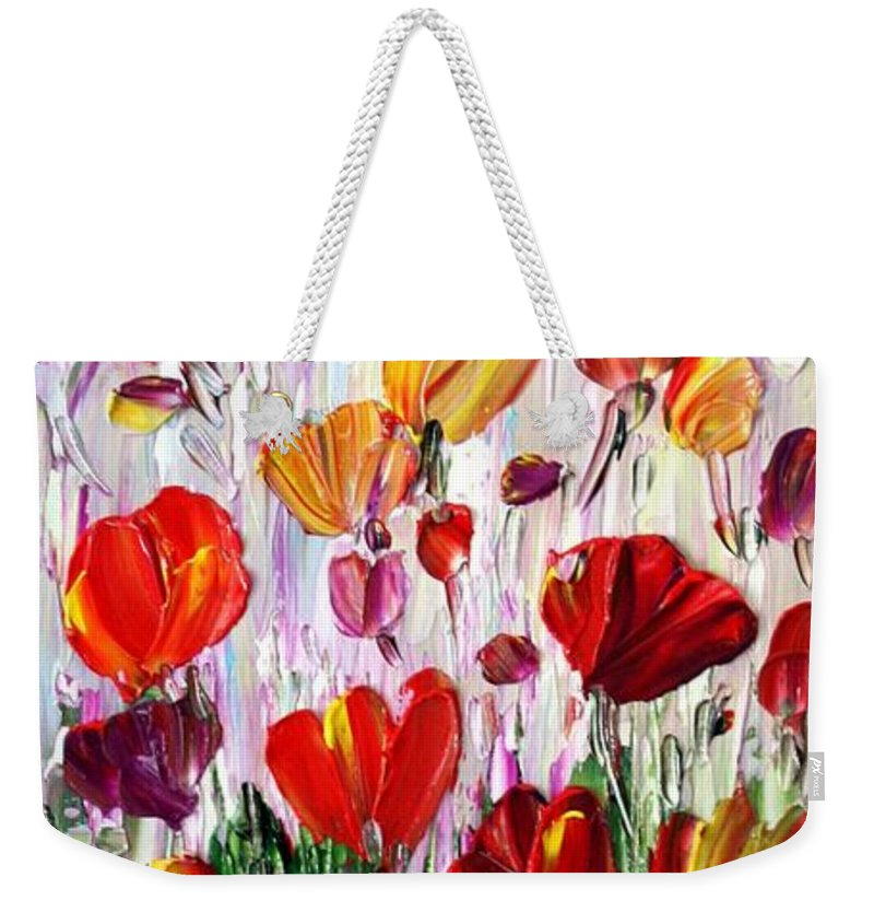 Flowers Weekender Tote Bag featuring the painting Tulips Flowers Garden Seria by Luiza Vizoli