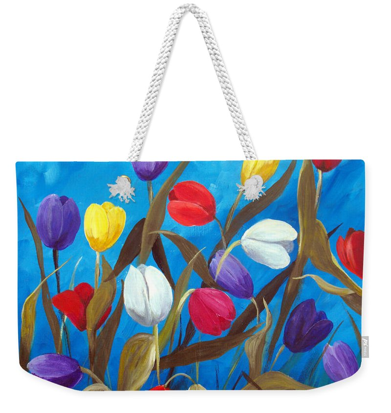 Tulips Weekender Tote Bag featuring the painting Tulips Galore II by Ruth Palmer