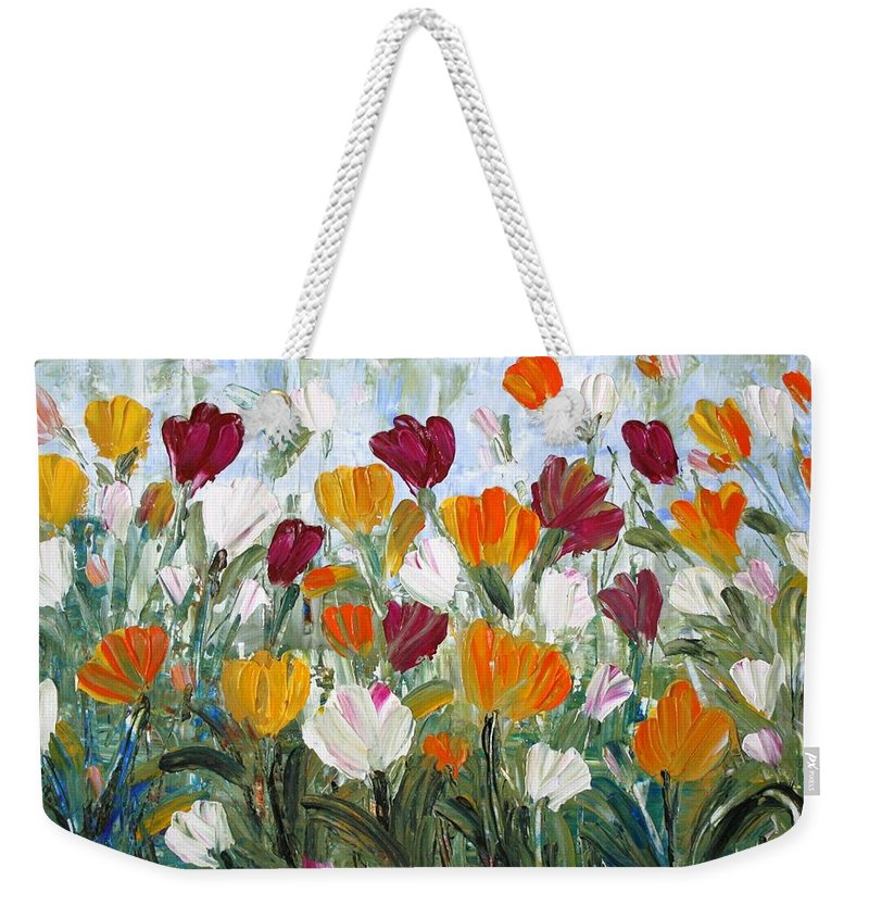 Oil Weekender Tote Bag featuring the painting Tulips Garden by Luiza Vizoli