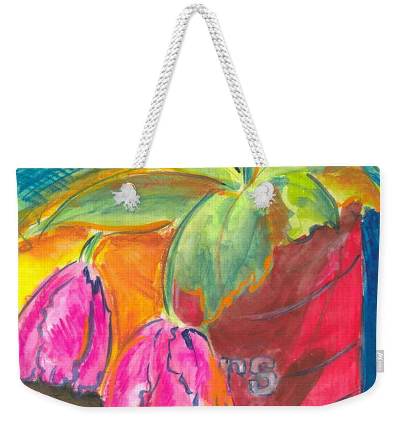 Flowers Weekender Tote Bag featuring the painting Tulips In Can by Jean Blackmer