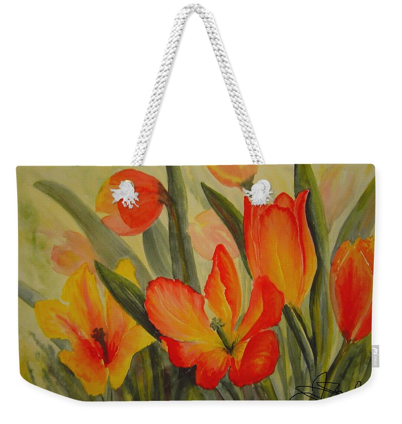 Spring Tulips Weekender Tote Bag featuring the painting Tulips by Joanne Smoley