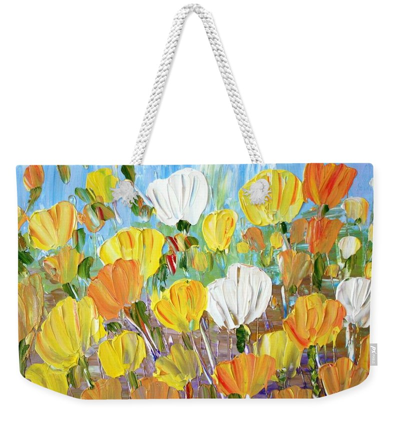 Flowers Weekender Tote Bag featuring the painting Tulips by Luiza Vizoli
