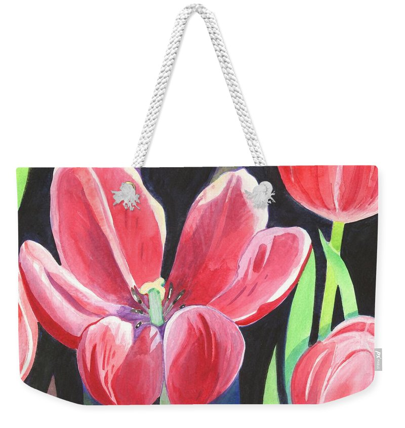 Flower Weekender Tote Bag featuring the painting Tulips On Black by Helena Tiainen