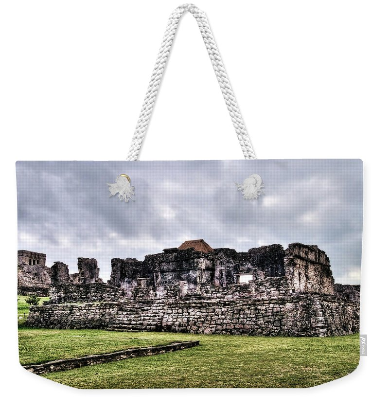 Tulum Weekender Tote Bag featuring the photograph Tulum Ruins by Tammy Wetzel