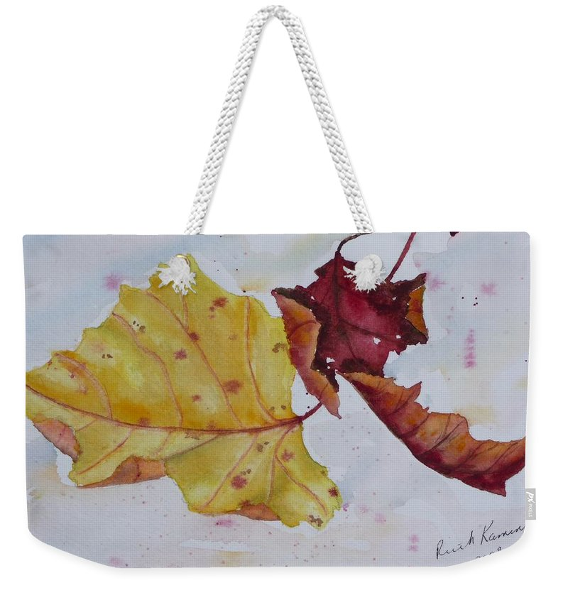 Fall Weekender Tote Bag featuring the painting Tumbling by Ruth Kamenev