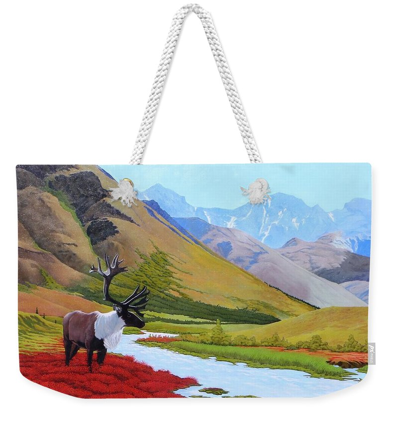 Caribou Weekender Tote Bag featuring the painting Tundra by Jim Bob Swafford