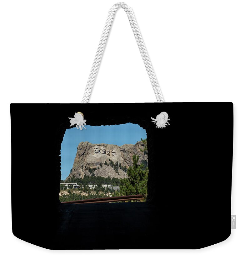 Mt Weekender Tote Bag featuring the photograph Tunnel View Mt Rushmore 2 B by John Brueske