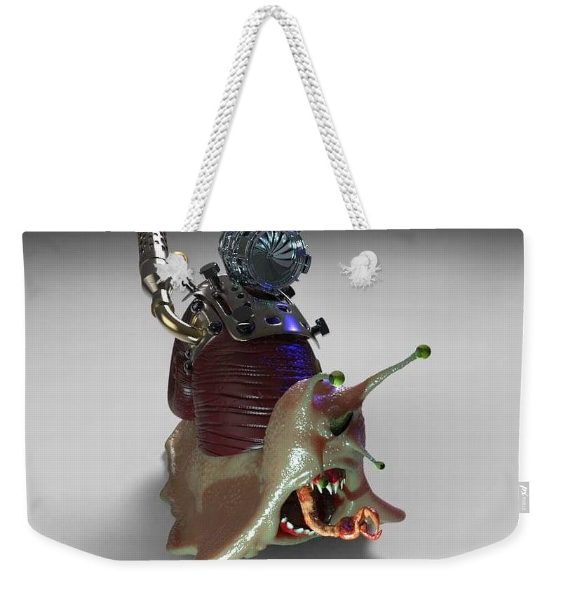 Snail Weekender Tote Bag featuring the digital art Turbo Snail by Pedro Oliveira