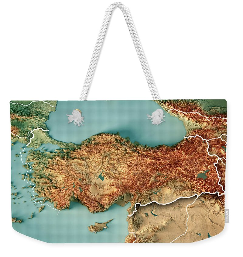 Turkey Weekender Tote Bag featuring the digital art Turkey Country 3d  Render Topographic Map Border by cda0b20a7966f