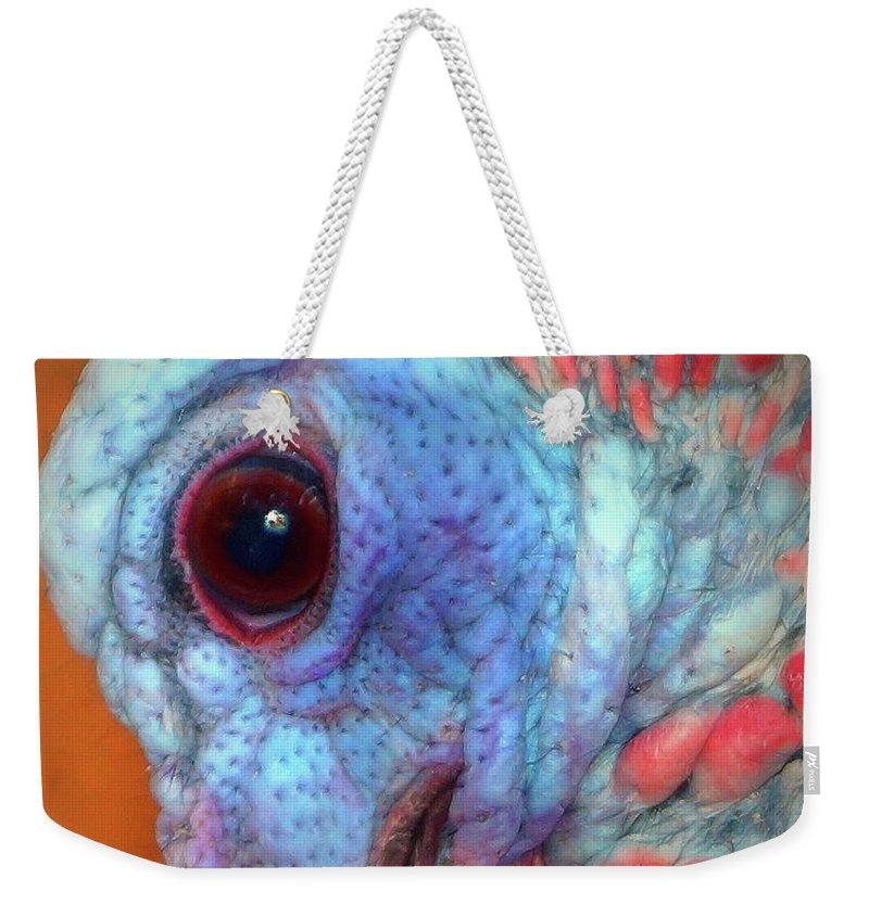 Turkey Head Shot Weekender Tote Bag featuring the photograph Turkey Head Shot by Kim Pate