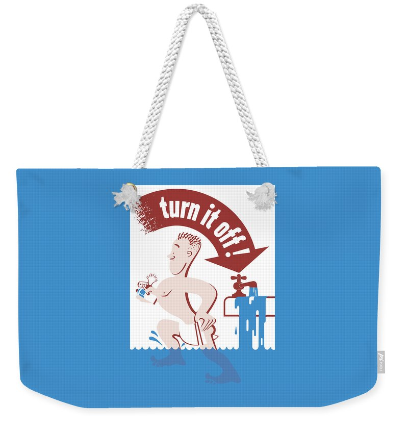 Wwii Weekender Tote Bag featuring the painting Water - Turn It Off by War Is Hell Store